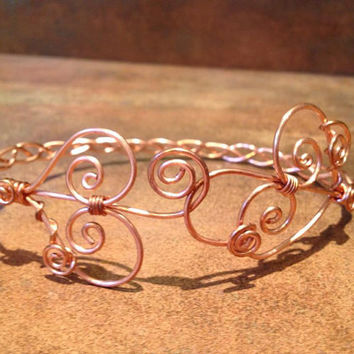 Copper Swirl Wire Wrapped Anklet by Bodynovelties on Etsy