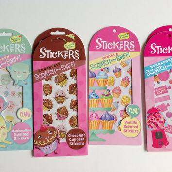 scratch n sniff , scented stickers , 2 sheets , journaling stickers , fun stickers , sticker set