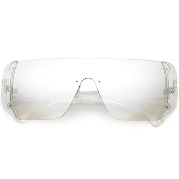 59304e2082 Retro Futuristic Oversize Color Mirrored Lens Shield Sunglasses