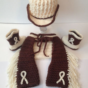 Cowboy Western Outfit/ Set - Texted Hat - Photoprop - Newborn to 6 months - Any Color
