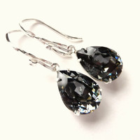 Swarovski Rhinestone Crystal Earrings, Black Diamond Pear Earrings, Sterling Silver Earrings, Silver & Black, Fashion