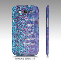 """samsung galaxy S3, iphone4, 4s,5 case, """"trail of glitter"""" turquoise, purple, text, glitter, sparkle"""