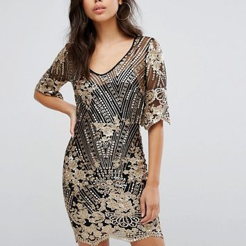 TFNC Sequin Midi Dress With Scalloped Hem And Sleeve at asos.com