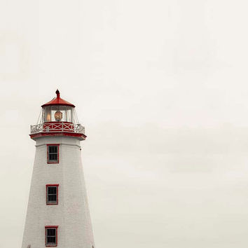 Lighthouse Photograph, White, Red, Nautical Neutral Decor, Beach House Shabby Chic Bathroom Wall Art