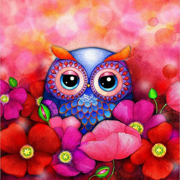 Owl Art - Owl Decor - Red Poppy Hill Flower Field - Romantic Love Painting NEW by Annya Kai