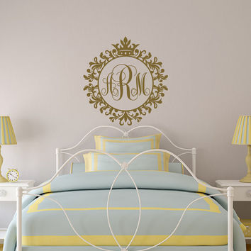 Personalized Monogram Letters Wall Decal- Vinyl Wall Decals Custom Initial Gifts- Wall Decal Monogram Sticker Girls Room Bedroom Decor 141