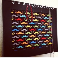 Framed Mustache colored Print Jewelry Necklace Earring Board Organizer from Bowlicious Divas Bowtique