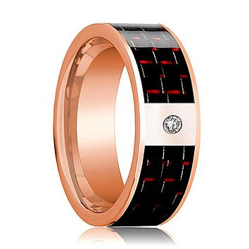 Mens Wedding Band 14K Rose Gold and Diamond with Black & Red Carbon Fiber Inlay Flat Polished Design