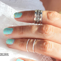 Silver Knuckle Ring Set of 3 Above the Knuckle Rings, Stacking  Midi Ring, Rings,  Mid Knuckle Ring