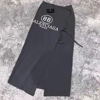Balenciaga Fashion Women Sides Open Irregular Knot Skirt Dark Grey