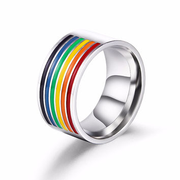 Stainless Steel Six-Color Rainbow Gay Pride Ring