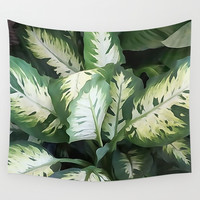 Painted Green Foliage  Wall Tapestry by KCavender Designs