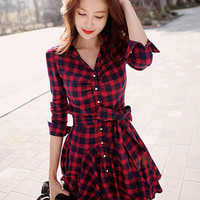 Plaid Print Half Sleeve Bow Belted Mini Skater Dress