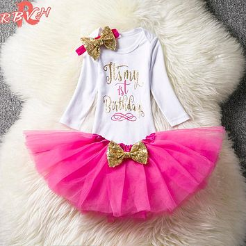 Toddler Baby Girl 1st Birthday Outfits Brand Autumn Baby Clothing Set Newborn Infant Party Dress Girl Christening Babes Suits