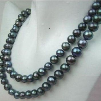 8-9Mm Tahitian Black Pearl Necklace 32""