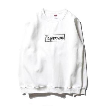 Supreme Women Men Fashion Casual Embroidery Top Sweater Pullover
