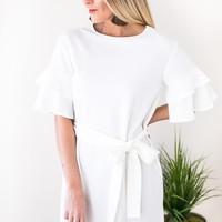 Soul Sister Ruffle Sleeve White Dress