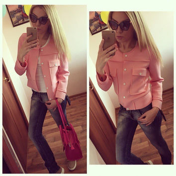 Candy Colors Scoop Full Sleeves Fashion Short Coat