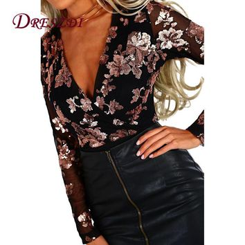 Dreszdi 2018 Spring Floral Embroidery Mesh Bodysuit Women Overalls Long Sleeve Vintage Bodysuits Blouse Sexy V Neck Romper Tops