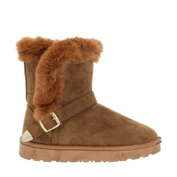 Fur Lined Buckled Snow Boot (CAMEL)