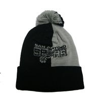 San Antonio Spurs Mitchell Ness Split Knit Pom Beanie