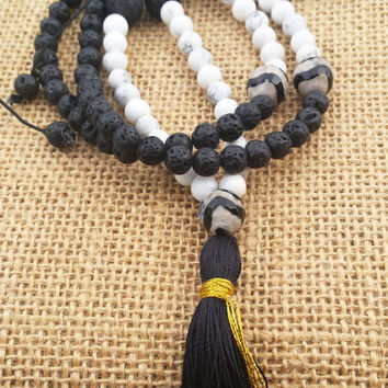 Black Lava White Howlite 108 Mala Necklace Yoga Tassel Meditation Boho Beaded Long Necklace Buddhist Bead Necklace Yoga Jewelry