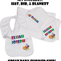 Personalized New Baby Gift Set. Great Baby Shower Gift. New Baby Boy Sports. Baby Shower Gift Set. Personalized. Custom. Pink Pig Printing.