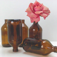 Lil Brown Bottles Vases Rustic Industrial DIY Wedding Decor Supplies Home Brewing Supplies lot of 10