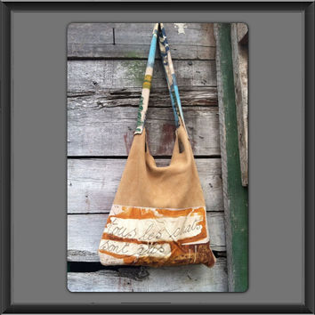 CW Upcycled Deer hide super soft tan  leather suede tote bag