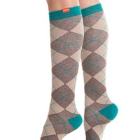 20-30 mmHg: Women's All Over Argyle: Brown & Teal (Cotton)