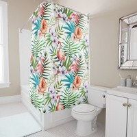 Flamboyant Flamingo Tropical nature garden pattern Shower Curtain