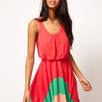 Love Colour Block Hem Dress at asos.com