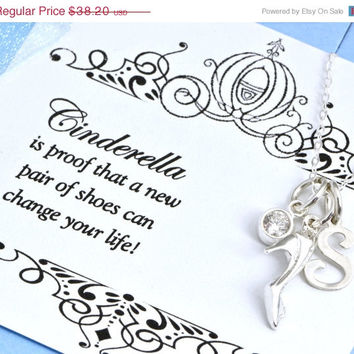 Easter Sale Cinderellla Charm Necklace w/ gift box - Show Necklace -Sister Gift -Sister Necklace - Princess Jewelry - Glass Slipper