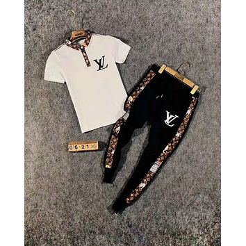 LV new style brand POLO shirt stand collar wild long section pants two-piece suit