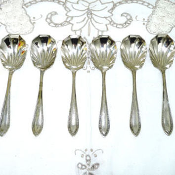Edwardian Design Dessert Spoon x 6, Desert Spoons, Shell Shaped Bowls, EPNS, Ornate Handle, Vintage Spoons, Flatware, Tableware, 0112
