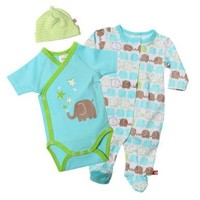 Zutano Unisex-Baby Elephants Footie, Short Sleeve Wrap And Hat Set, Multi, 6 Months
