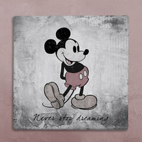 "Disney wall art canvas in vintage style mickey mouse ""never stop dreaming"" for  baby's room. Worldwide FREE SHIPPING with tracking number!"