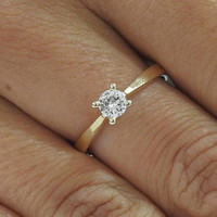 Unique Solitaire Ring Vintage Style Ring 14K Yellow Gold Classic | Wedding | Anniversary | Bridal | Promise Ring