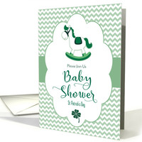 St. Patrick's Day Baby Shower Invitation with Rocking Horse card