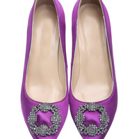 Purple Rhinestone High Heeled Point Toe Shoes - Sheinside.com