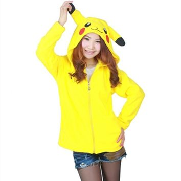 Fashionable  Pikachu Sweatshirts Long Sleeve Zipper Hat Cosplay Costume Men Women Hoodies Anime Cartoon Sweatshirts CoatKawaii Pokemon go  AT_89_9