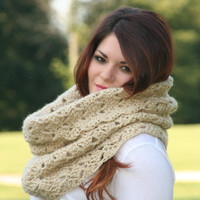 Camel -Textured Chunky Cowl Scarf Snood or  Capelet Winter Fashion