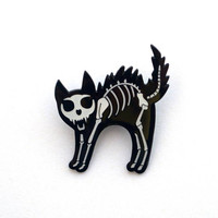 Skeleton Cat Enamel Pin - Black and White Bone Cat Halloween Enamel Pin, macabre spooky halloween black cat