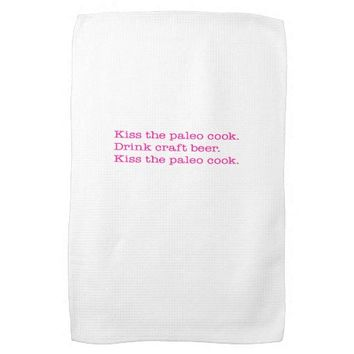 Kitchen Towel, Kiss the paleo cook. Pink Kitchen Towel