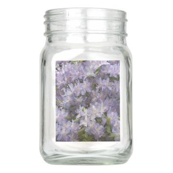 Purple Rhododendron Blossoms Floral Mason Jar