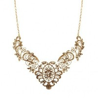 Vintage Gold Lace Effect Metal Lace Necklace by Julyjoy