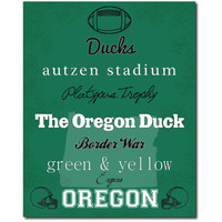Oregon Ducks Football Subway Art Print Gift Home Decor Wall Art 8x10 Typography