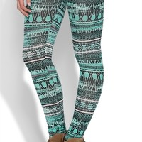 Blurred Mint Aztec Leggings