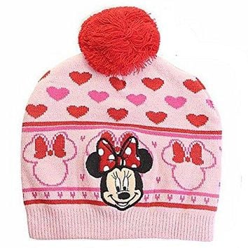 "Adorable Red and PInk "" MInnie Mouse"" Warm Knit Winter Hat for Girls (fits 3-9yr olds)"