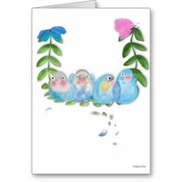 Funny blue lovebirds with butterflies Watch